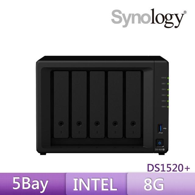 【搭WD 金標 4TB x2】Synology 群暉科技 DS1520+ 5Bay 網路儲存伺服器