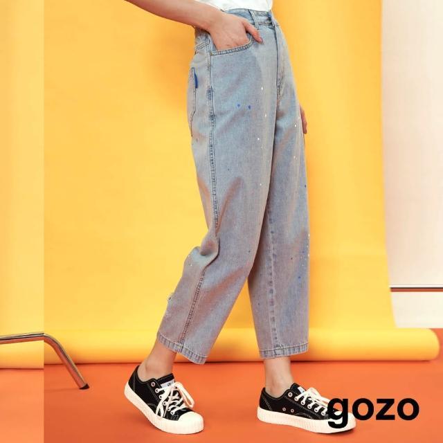 【gozo】漆彩寬鬆牛仔男友褲(兩色)