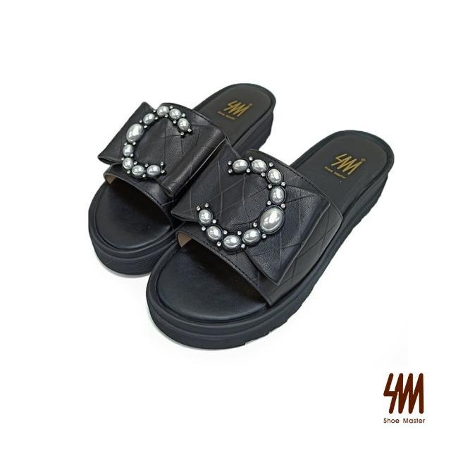 【SM】真皮時尚大C珍珠拖鞋(百搭黑)
