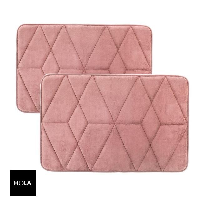 【HOLA】新超吸水舒壓踏墊幾何梅粉 50x80cm x1+40x60cm x1