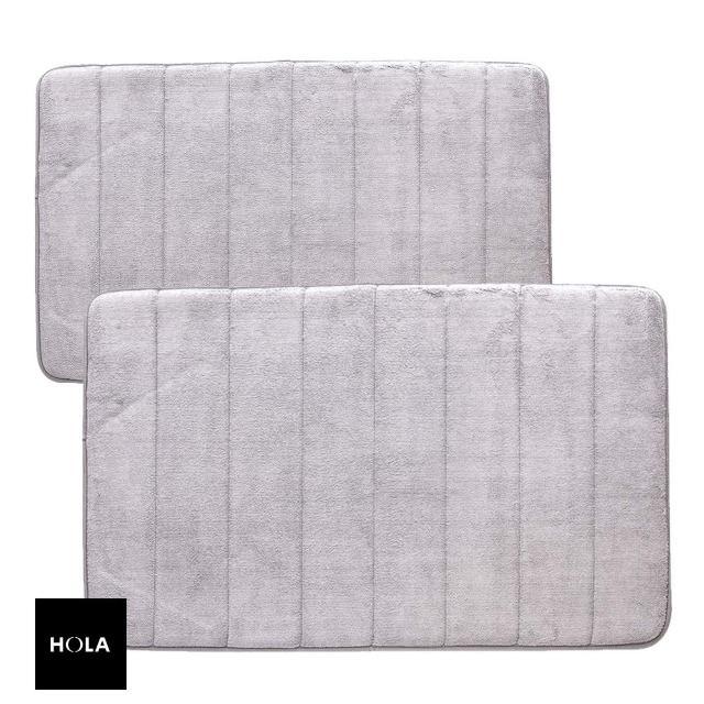 【HOLA】新超吸水舒壓踏墊線條淺灰 50x80cm x1+40x60cm x1